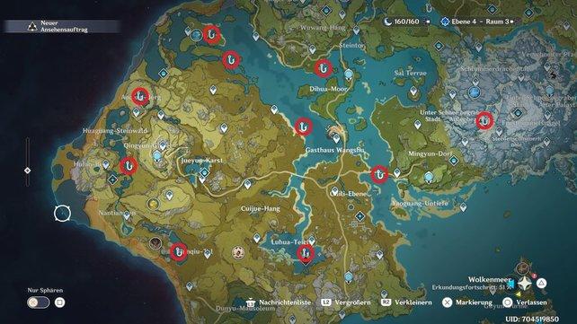 Die Karte zeigt euch alle Angelstellen in Liyue.