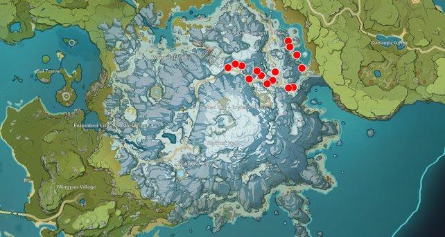 Die Karte zeigt euch einige Kiefernholz-Fundorte in Genshin Impact.