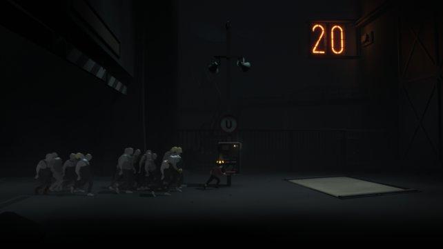 Per Gedankenkontroll-Kappe dirigiert der Junge ein paar Arbeiter-Zombies für ein Rätsel auf die Schalter-Plattform.