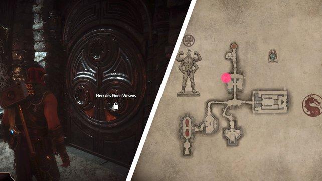 Findet das Herz, die Seele und den Geist des einen Wesens, um diese Tür in der Krypta zu öffnen. Der rosa Punkt zeigt euch den Fundort auf der Karte.