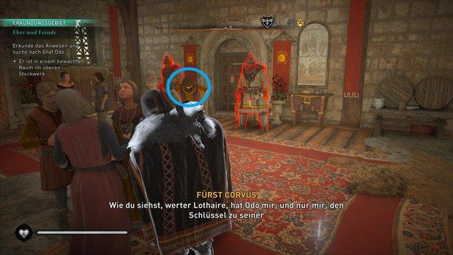 Mischt euch unter die Gäste und wartet bis das Gespräch des markierten Mannes vorbei ist. Stehlt dann dessen Schlüssel.