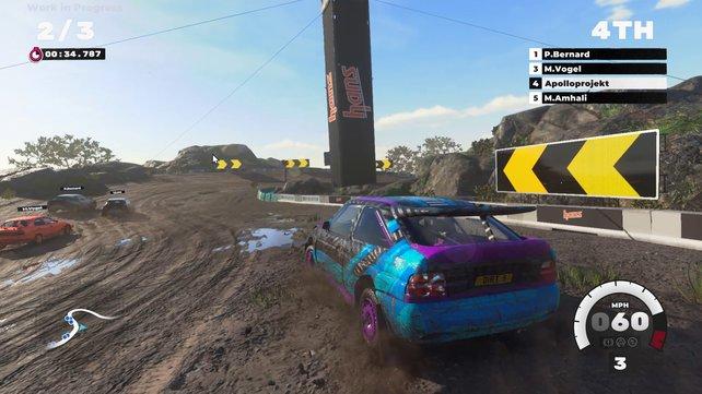 Die weitläufigen Schlammpisten erinnern hin und wieder an Sega Rally, ebenso wie das arcadige Fahrverhalten.