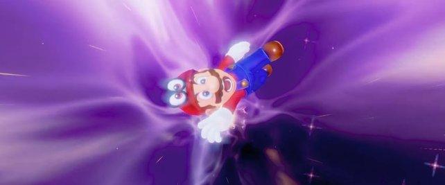 Obwohl es ihm bekannt vorkommen müsste, scheint sich Mario bei dieser Fortbewegungsmethode nicht wohlzufühlen.