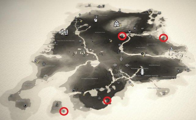 Ghost of Tsushima - Fundorte aller 4 Bambusstände auf der Insel Iki.
