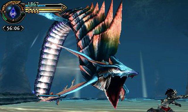 Die übergroßen Monster von Final Fantasy Explorers passen gerade so auf den Bildschirm.