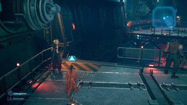 Dank seiner Agilität kann Red XIII an der Wand entlang laufen, um auf die andere Seite zu gelangen und hier den Hebel zu betätigen.