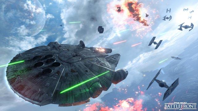 Gegen den Milleniumfalken kommen die Tie-Fighter nicht wirklich an.