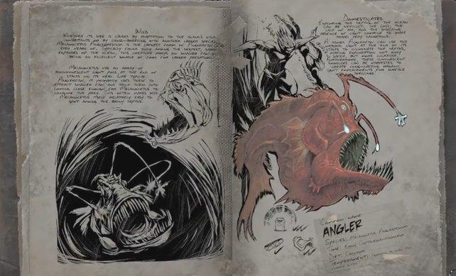 Die Dossiers enthalten jede Menge interessanter Notizen über die Kreaturen von Ark.