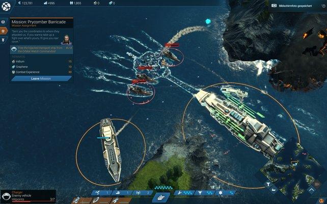 Mit eurer Schiffsflotte geht ihr auf Schurkenjagd und sammelt seltene Ressourcen.
