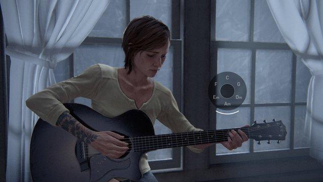 Geht nach unten und dann nach links. Spielt schließlich auf de Gitarre, dir Joel Ellie einst geschenkt hat.
