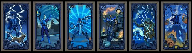Alle Zauberkraft-Schicksalskarten in einer Reihe.