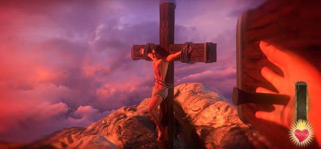 Der Jesus-Meter neigt sich dem Ende. Jesus am Kreuz im Trailer zu I Am Jesus Christ.