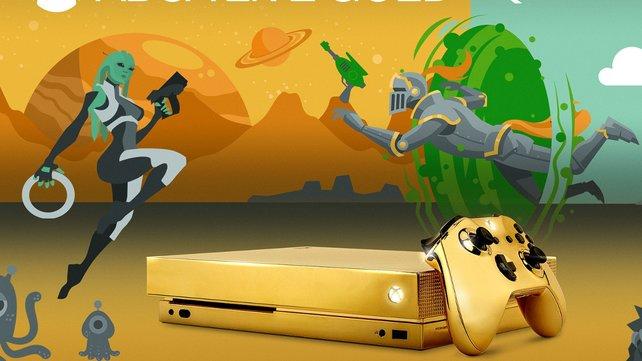 Xbox One X Microsoft Verschenkt Goldene Konsole