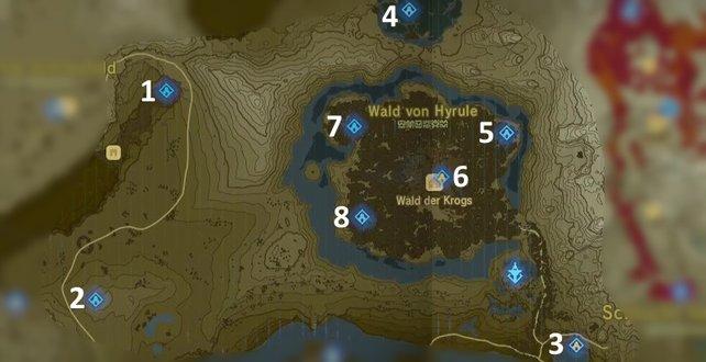 """Die Karte mit den Schreinen der Region """"Turm der Wälder""""."""