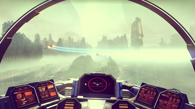 In No Man's Sky erkundet ihr ein fiktives Universum und untersucht diesen Regenplaneten nach Ressourcen.