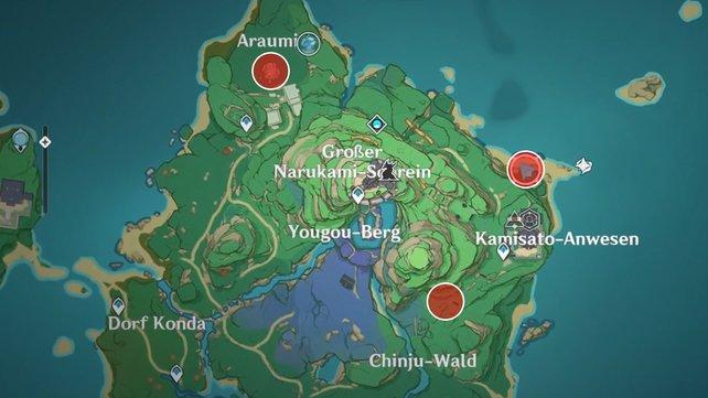 Die Karte zeigt euch die Startpunkte für die drei Reinigungsrituale der Quest.