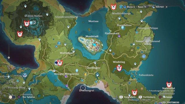 Die Karte zeigt euch 7 mögliche Fundorte in Mondstadt.