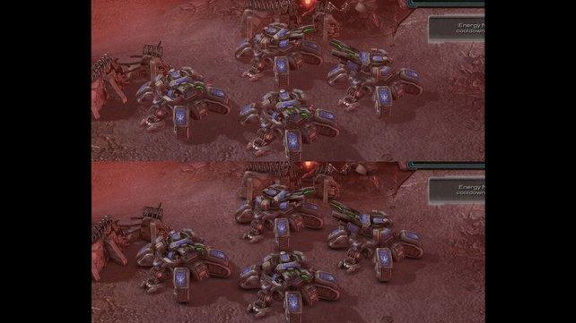 """Starcraft 2 einmal ohne den Schatteneffekt """"Ambient Occlusion"""" (oben), einmal mit (unten)."""
