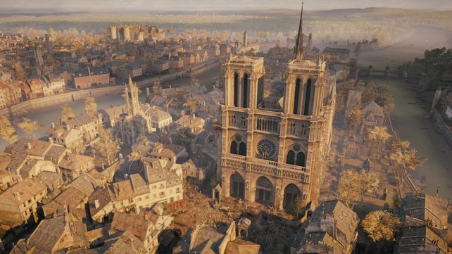 Der Schauplatz des neuesten Assassinen-Abenteuers ist das revolutionäre Paris. Hier seht ihr die Kathedrale Notre Dame.