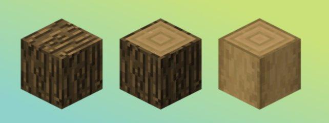 Eichenholz in allen drei Varianten