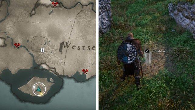 Die Karte zeigt euch den genauen Fundort des Schatzes.