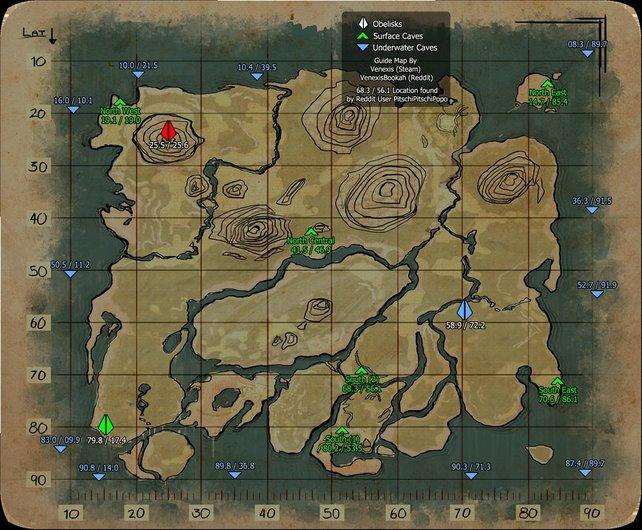 Die Karte zeigt alle Höhlen- und Unterwasserhöhlen-Eingänge des Hauptgebiets von Ark - Survival Evolved. (Quelle: Steam)