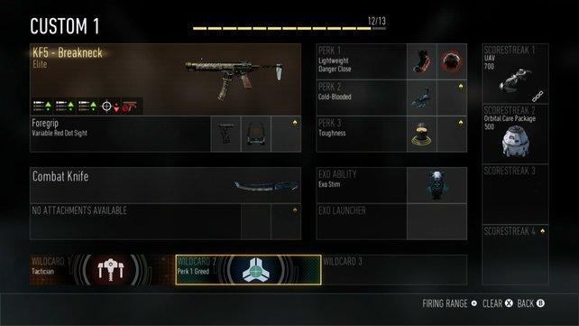 Maximal 13 Ausrüstungteile von der Waffe bis zur Bonusfähigkeit setzt ihr geschickt ein.