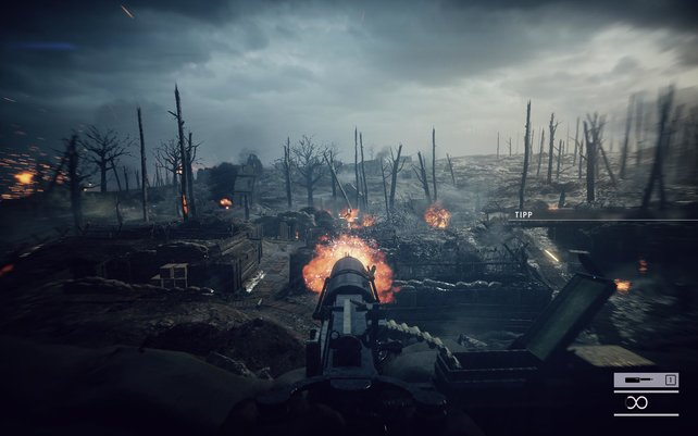 Erst nachladen, dann feuern. Ansonsten beißt ihr schnell ins virtuelle Gras in Battlefield 1.