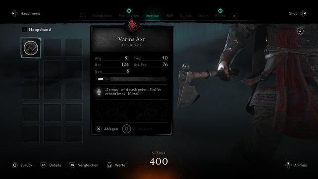 Um Odins Magie zu entkommen, müsst ihr euer Ausrüstungsmenü öffnen, eure Axt anwählen und diese ablegen.