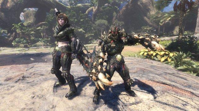 So sieht die Deviljho-Rüstung für weibliche und männliche Charaktere aus.