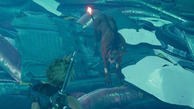 Nachdem er von Sephiroth in die Tiefe geschleudert und von seinen Kameraden getrennt wurde, trifft Cloud aber schon bald wieder auf Red XIII.