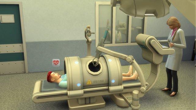 Am Operationstisch könnt ihr schwerwiegende Krankheiten behandeln. Hin und wieder findet ihr auch eine Saugglocke oder andere abstruse Gegenstände in den Mägen der Sims.