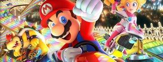 Mario Kart 8: Spieler zocken auf einer Stadion-Leinwand