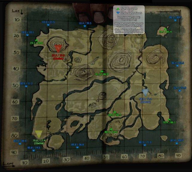 Auf dieser Karte sehr ihr alle Höhlen der Standard Map von ARK eingezeichnet.