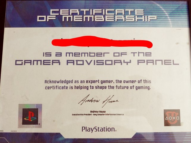 "Ein offizielles Sony-Zertifikat als ""Expert Gamer"" des Reddit-Users Videowulff"