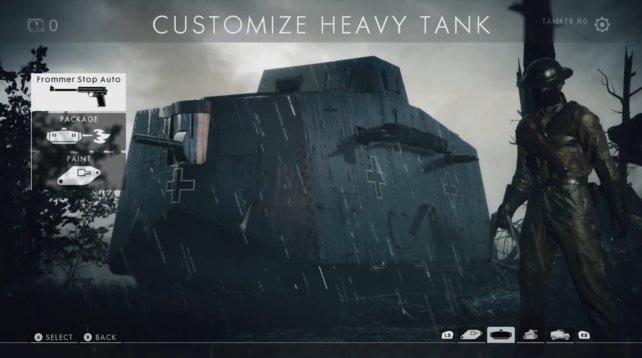 Menü-Übersicht schwerer Panzer