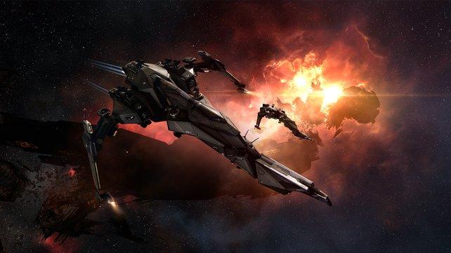 In Eve Online könnt ihr mit Raumschiffen fremde Galaxien erkunden - und dabei auf eine sehr engagierte Community treffen.