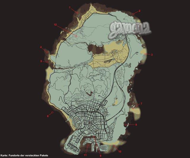 Die Fundorte der versteckten Pakete. Zum Vergrößern auf die Map klicken.