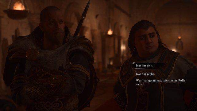 Bischof Deorlaff warnt Eivor vor der Unberechenbarkeit Ivars und bittet ihn, mit Ruhe und Bedacht vorzugehen.