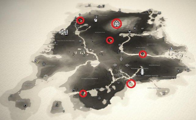 Auf dieser Karte haben wir für euch die Fundorte aller 6 von den Mongolen besetzten Gebieten auf der Insel Iki eingezeichnet.