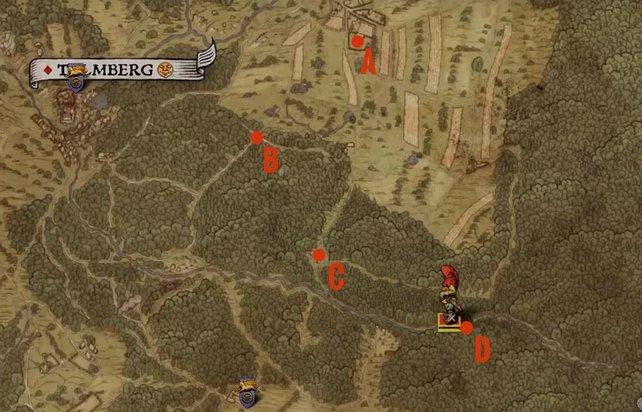 Ihr startet bei den Ställen von Uschitze (A), reitet bis zur markierten Kreuzung (B) und biegt dann nach Osten ab, bis ihr zu einem Lager (C) kommt. Von hier aus reitet ihr einfach am Fluss entlang, bis ihr Krapfen auf einer Lichtung (D) findet.