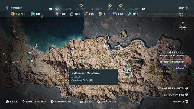 """Begebt euch nach Minos' Vermächtnis in Messara, um die Quest """"Mythen und Minotauren"""" zu starten."""