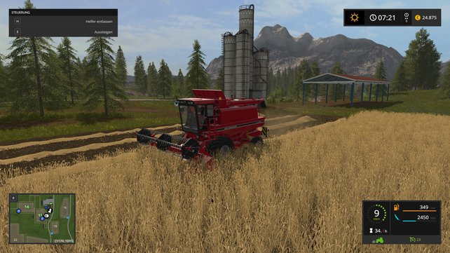 Mit dem Mähdrescher holt ihr die Ernte auf euren Feldern ein.