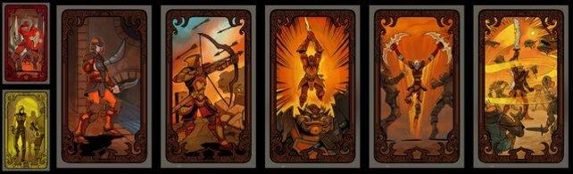 Alle Raffinesse/Macht-Schicksalskarten in einer Reihe.