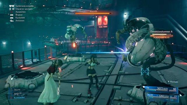 Auch Tifa und Aerith bekommen es, wie schon Cloud, Barret und Red XIII mit Dimensionshämmer zu tun.