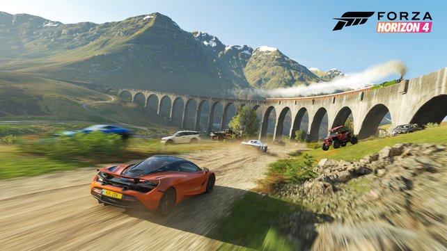 Offene Spielwelt: In Forza Horizon 4 erkundet ihr Großbritannien mit bis zu 71 weiteren Spielern.