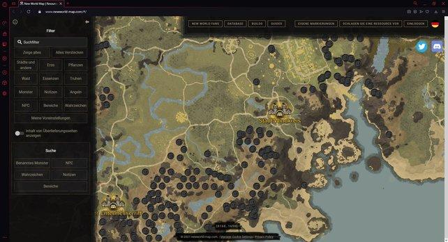 Mit der interaktiven Map von New World findet ihr schnell neue Eisenerz-Spots.