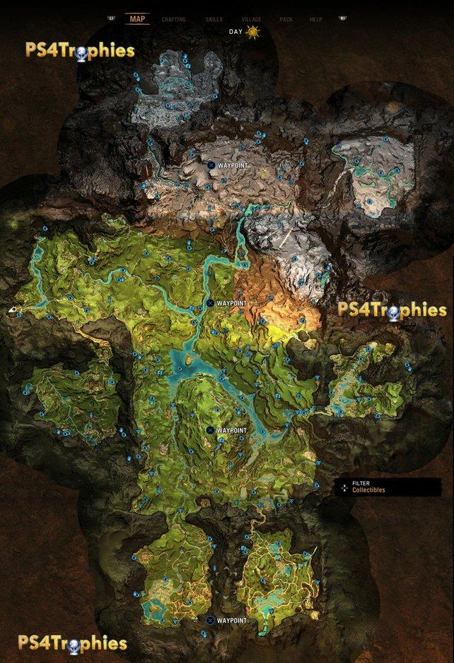 Bildquelle: ps4trophiesgaming.com - Fundorte aller 184 Sammelobjekte in Far Cry Primal.
