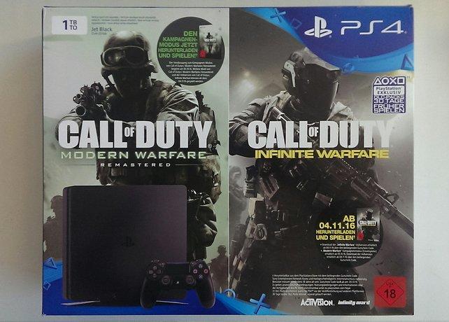 Der Hauptgewinn: Eine niegelnagelneue PS4 mit 1 TB und CoD Infinite Warfare und Cod Modern Warfare!