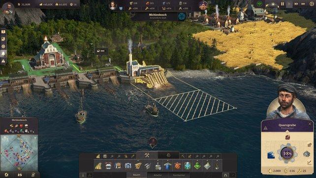 Anno 1800 Quarz: Die Quarzgrube wird einfach an die Küste gesetzt.